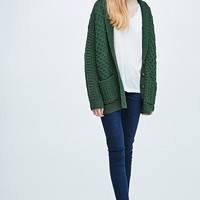 BDG Shawl Cable Cardigan in Green - Urban Outfitters