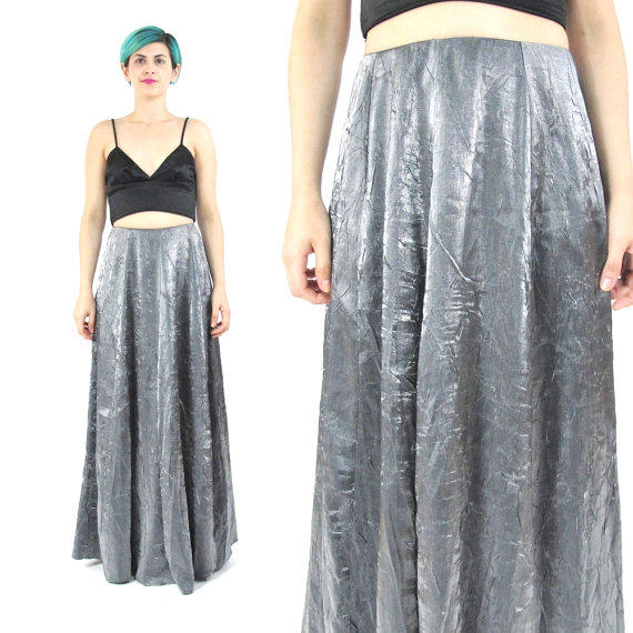 90s silver maxi skirt high waisted formal from honey moon muse