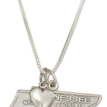 """STERLING SILVER 18"""" TENNESSEE STATE PENDANT NECKLACE WITH HEART CHARM"""
