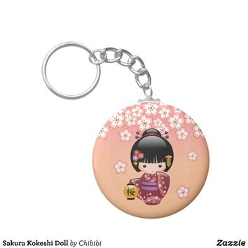 Sakura Kokeshi Doll Key Chains from Zazzle.com
