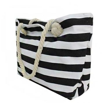 Monogrammed Stripe Canvas Beach Tote - Black
