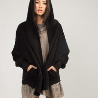 Hooded Jacket Cardigan - Black /