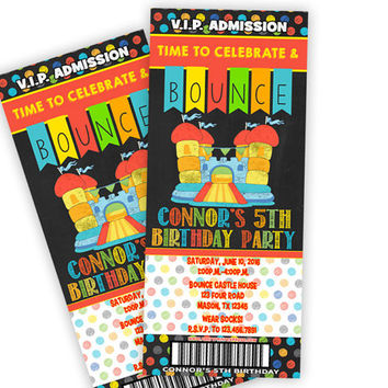 Bounce Birthday Ticket Invitation - Chalk Bounce House Party - VIP Pass Ticket Invitations - Boy Bounce Castle Party Invitations - Red