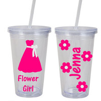 Flower Girl Plastic tumbler - Wedding party gift for the perfect little flower girl