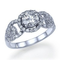 090 carats Round Cut Diamond Engagement Ring 14k by ldiamonds