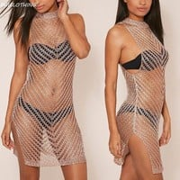 DCCKLW8 BAICLOTHING 2017 shiny knited hollow Bikini cover ups summer perspective Mini beach dress swimsuit Bathing Suit cover up