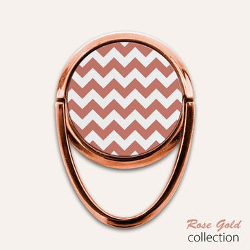 Rose Gold Chevron Phone Ring Finger Holder Mount Stand Grips