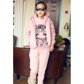 Pink Deer Pattern High Neck Hoodie with Waistcoat and Pants