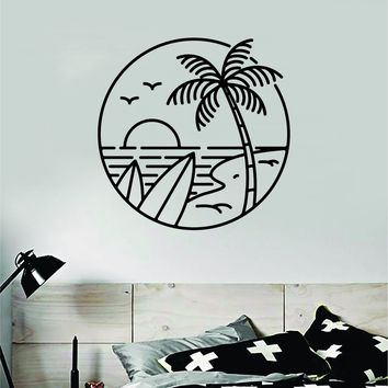 Surf Beach Circle Decal Sticker Wall Vinyl Art Home Room Decor Bedroom Sports Quote Board Surfing Ocean Waves Good Vibes