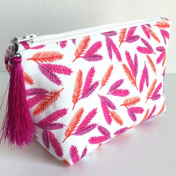 Small Cosmetic Bag, Small Makeup Bag, Feather Makeup Bag, Small Feather Pouch, Small Makeup Pouch, Feather Bag, Feather Cosmetic bag