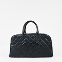 Chanel Black Caviar Leather Quilted 'CC' Top Handle Bowler Bag