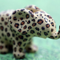 Leopard Print Elephant Figurine Cute Animal Sculpture OOAK