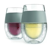 Freeze Cooling Wine Glass Set of 2 by HOST - Insulated Rubber Grip, Proprietary Cooling Gel, 8.5 oz keeps your drink cold!