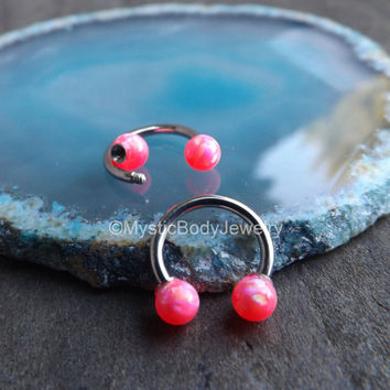 "Opal Septum Nose Ring 16g 5/16"" Pink Opals Daith Piercing Tragus Body Jewelry Gems Helix Piercings Conch Horseshoe Silver Earrings Gemstones"