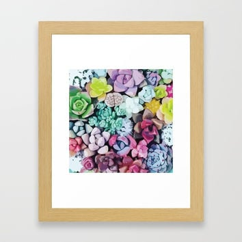 Succulent Love Framed Art Print by allisone