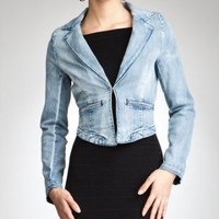 bebe Denim Wash Hi-Low Blazer - bebe Addiction