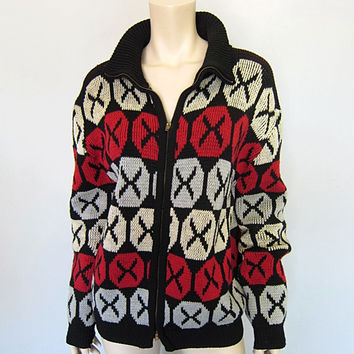 Vintage 50s Atomic Checkers Checkerboard Wool Cardigan Sweater Mad Men 1950s WPL Rat Pack Zip Front Knit Jacket Mens size L
