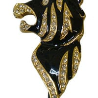 Enamel Tiger Head Brooch