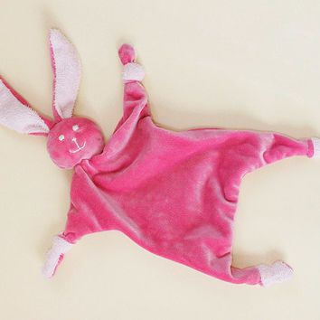 Lovely pink bunny baby sleep cloth, sensory toy, baby comforter, security blanket