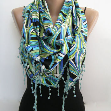 15% SALE Summer shawl multicolor satin shawl, triangle scarf