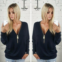 Women Sexy Fashion Batwing Sleeve Blouse Deep V Collar Zipper Sweater Long Sleeved T-shirt Plus Size S-5XL [8834056588]
