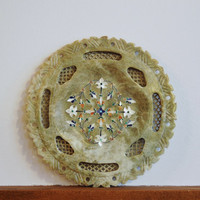 Carved Marquetry Marble Plate, Inlaid Alabaster Plate, Pietra Dura Floral Design and Jali, Semi Precious Gemstone Inlay Flower Design