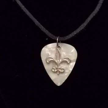 Awesome Fender Guitar Pick Necklace with Silver Fleur de Lis