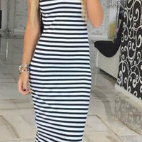 Black And White Stripe Dress 10341