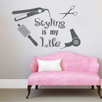 Wall Decal Vinyl Sticker Decals Art Home Decor Design Mural Styling is my life Hair Beauty Salon Girl Woman Scissors Fashion Cosmetic #5