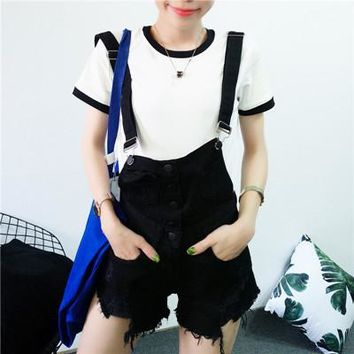 Hot Shorts 2017 New Fashion summer hot sale girls denim  patchwork button Pockets Frayed Ripped Holes Multi color overalls AT_43_3