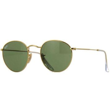 Gotopfashion Ray Ban RB3447 001 Round Sunglasses Gold Frame Green Classic G-15 Lens 50mm