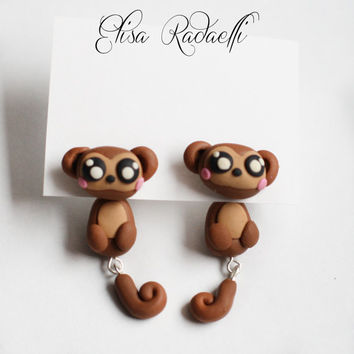 monkey two part earrings - polymer clay