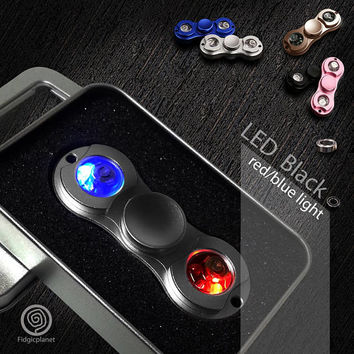 EDC **LED** Metal Fidget Spinner with Steel R188 Bearing (Bi-spinner, Ultra Fast)