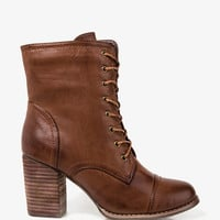 Stacked Heel Lace-Up Boots