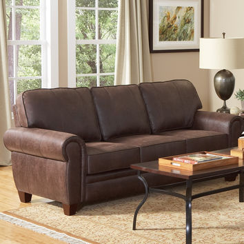 Dark Brown Faux Leather Upholstered Sofa