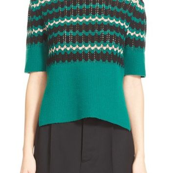 Marni Stripe Wool Blend Half Sleeve Crewneck Sweater | Nordstrom
