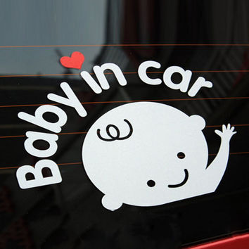 Free shipping Cartoon Car Stickers Reflective Vinyl Styling Baby In Car Warming Car Sticker Baby on Board