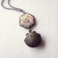 LAST ONE - Mermaid Necklace Mermaid Locket Mermaid Jewelry Seashell Locket Sea Shell Locket Seashell Necklace Sea Shell Necklace Nautical
