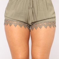 Joanna Lace Trim Shorts - Olive