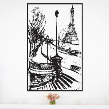 Old Paris Eiffel Tower Vintage streets of France Sticker Decal vm300