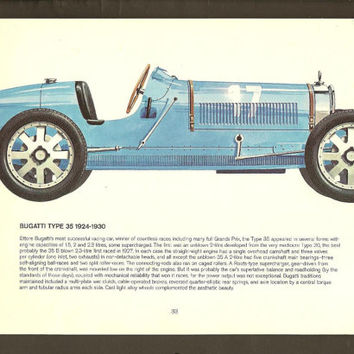 Double Sided Vintage Auto Print 1924 Bugatti and 1923 Voisin Drawing by Pierre Dumont