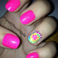 Pink Glitter TieDye HandPainted Nails by PureEffectNails on Etsy