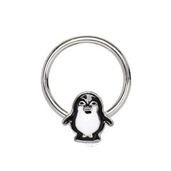 316L Stainless Penguin Snap-in Captive Bead Ring / Septum Ring