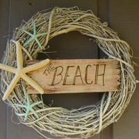 Beach House Decor Shabby Chic Starfish Wreath-THE BEACH-Beach inspired starfish home decor, Mother's Day, Wedding Gifts, Hostess Gifts