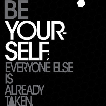 Inspirational quote typography - Oscar Wilde Quote Typography -Be yourself; Everyone else is taken black and white illustration