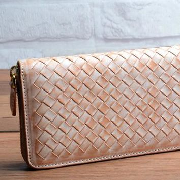 Handmade braided beige leather long wallet purse clutch zip men women