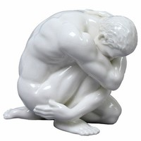 Sculpted Nude Male Glazed Porcelain Sculpture - 057 - Statues & Sculptures - Home Accents