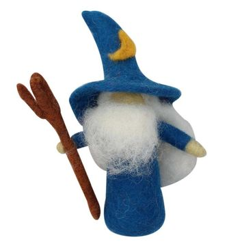 Felt Wizard Toy with Blue Robe