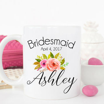 Bridesmaid gift, Bridesmaid Mug, Maid of honor mug, Custom Bridesmaid Mug, Wedding Party Gift, Bridesmaid cups, Gift for her, AAA_005