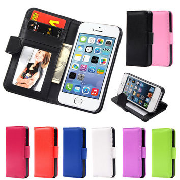For Apple iPhone 6 6S 7 Plus Wallet Style Flip PU Leather Case Photo Frame Card Holder For iphone6 Smart Stand Skin Bag Cover